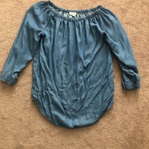 Blue Chambray Off theShoulder Top